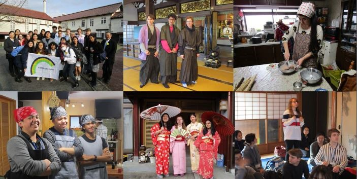 a collage of six images highlighting the Japanese Program students' trip to Japan.
