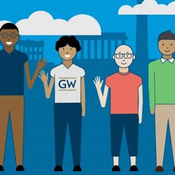 Volunteer with GW graphic with 4 students standing waving hands